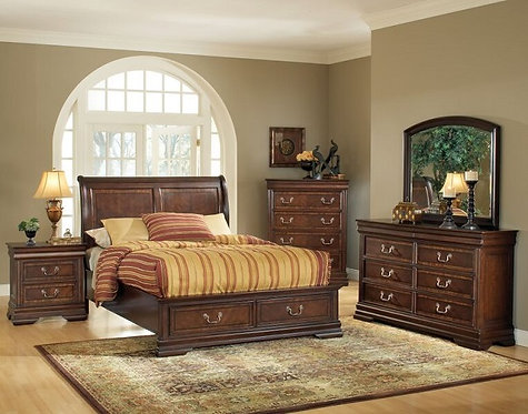 HENNESSY BROWN CHERRY FINISH BEDROOM SET