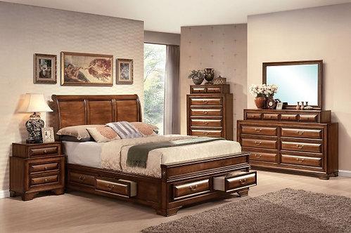KONANE BROWN CHERRY FINISH BEDROOM SET