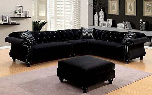 JOLANDA ll BLACK FLANNELETTE FABRIC SECTIONAL