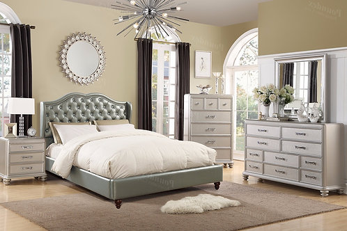 SILVERY SILVER FINISH BEDROOM SET