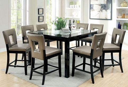 EVANT II 9PCS. CONTENPORARY BLACK FINISH DINING SET