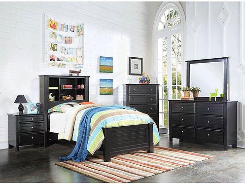 MALLOWSEA BLACK FINISH 4PCS BEDROOM SET