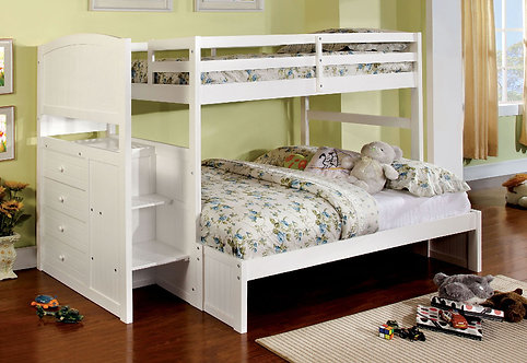 APPENZELL TWIN OVER FULL WOOD BUNK BED W/ STEPS & DRAWERS
