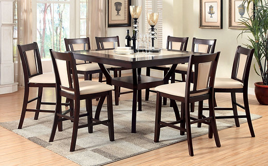 BRENT II 9PCS. COUNTER HEIGHT DINING SET