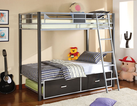 CLETIS TWIN OVER TWIN METAL BUNK BED