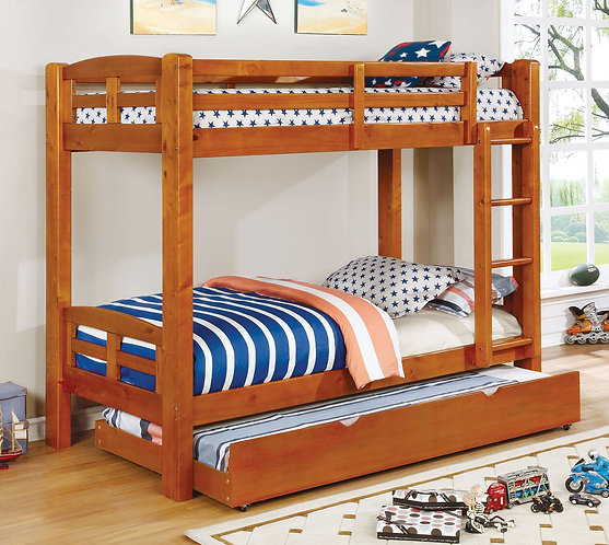 SOLPINE TWIN OVER TWIN WOOD BUNK BED