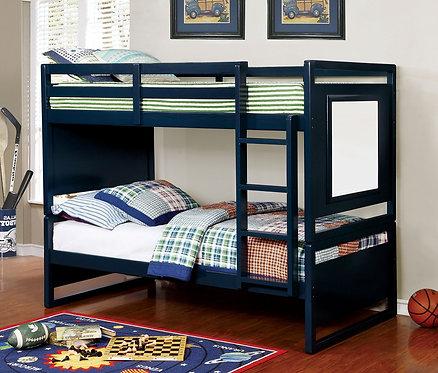 GLENDALE BLUE TWIN/ TWIN WOOD BUNK BED W/DRAWING BOARD