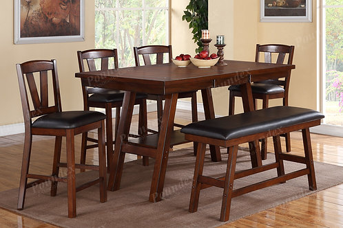 DARK WALNUT 6PCS. COUNTER HEIGHT DINING SET