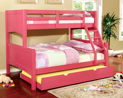 PINK PRISMO II TWIN OVER FULL WOOD BUNK BED