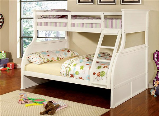 CANOVA WHITE TWIN OVER FULL WOOD BUNK BED