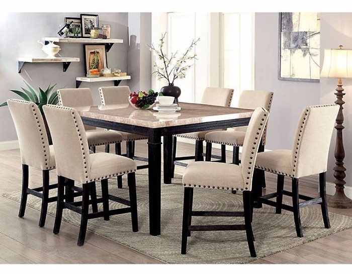 9pcs Marble Top Counter Height Dining Table 8 Stools Set