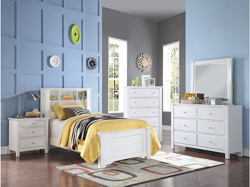 MALLOWSEA WHITE FINISH 4PCS BEDROOM SET