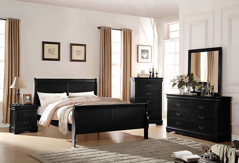 LOUIS PHILIPPE III BLACK FINISH BEDROOM SET