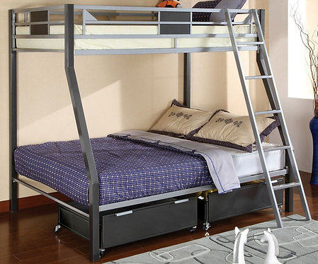 CLETIS TWIN OVER FULL METAL BUNK BED
