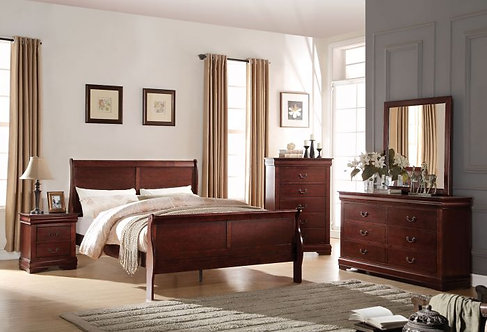 LOUIS PHILIPPE II CHERRY FINISH BEDROOM SET
