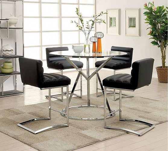 LIVADA II BLACK 5PCS. COUNTER HEIGHT GLASS TOP DINING SET
