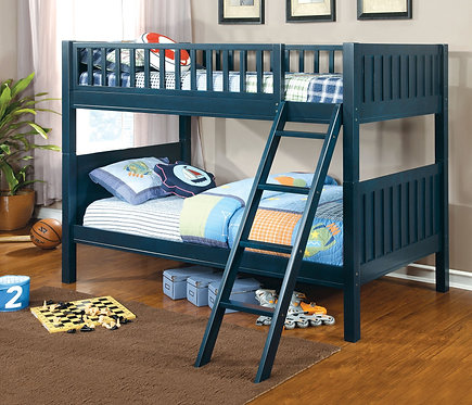 AZURE BLUE TWIN OVER TWIN WOOD BUNK BED