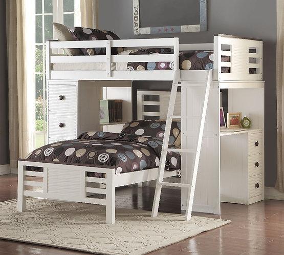 FLORRIE TWIN LOFT BUNK BED W/ DESK & DRAWERS