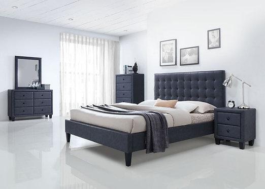 SAVERIA 2 TONE GRAY PU BEDROOM SET