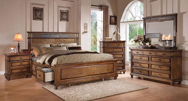 ARIELLE OAK FINISH BEDROOM SET