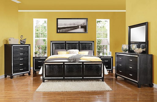 ELBERTE BLACK CROCODILE PU BEDROOM SET