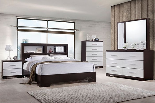CELESTE DARK BROWN WOOD BEDROOM SET