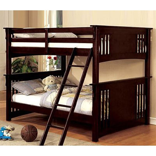 SPRING CREEK DARK WALNUT FULL/FULL WOOD BUNK BED