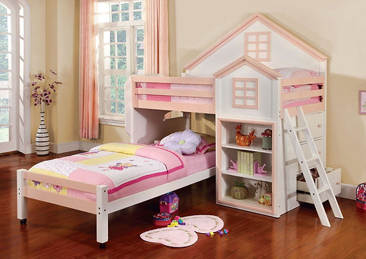 CITADEL  TWIN/TWIN LOFT BED IN WHITE + PINK