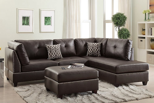 3PCS. ESPRESSO SECTIONAL SOFA