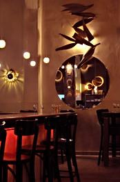 Round Mirror in Restaurant