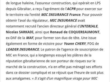 Article MIC Insurance dans l'Argus de l'Assurance - Rédacteur Louis Christian
