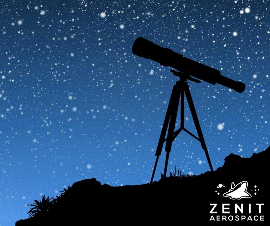 Telescopio em frente das estrelas