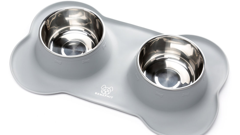 Benephit™ Dog Bowl with No Spill Non-Skid Silicone Mat 53 oz (GREY)