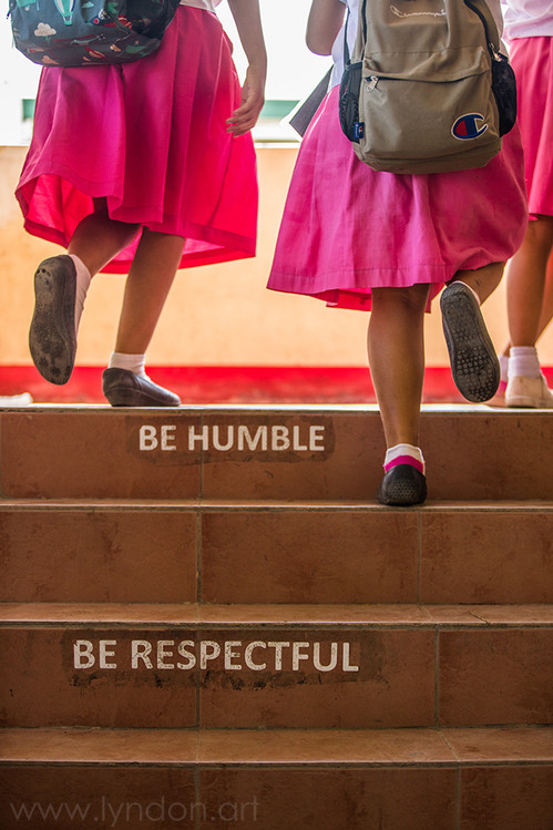 The stairs of this school have a lesson for the students.