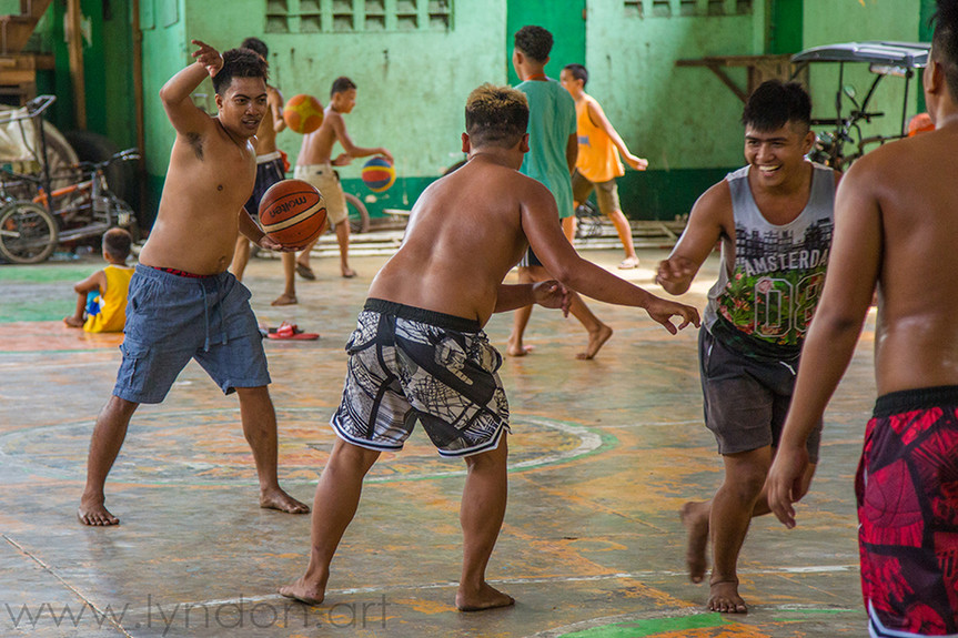 A friendly game of basketball doesn't require footwear.