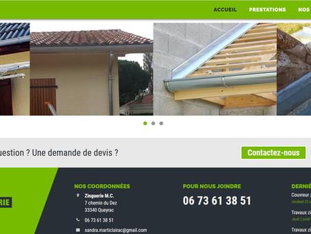 création site internet entreprise couvreur zingueur 44 pose de gouttières zinc MC Zinguerie 33