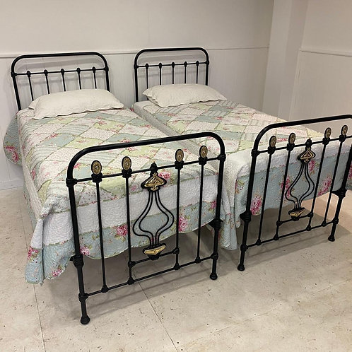 Singles - Pair of Art Nouveau Iron and Brass Beds - OM117