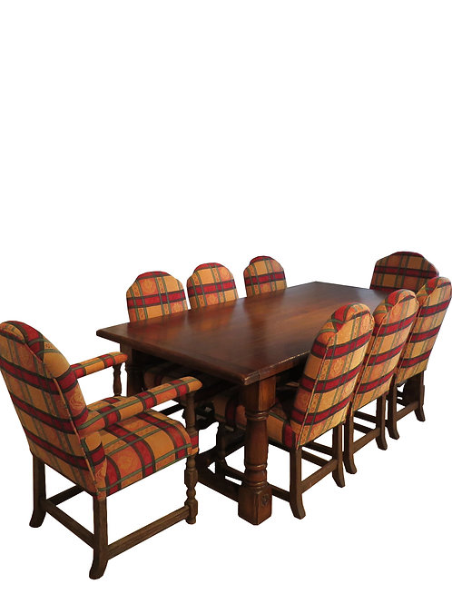 Oak Dining Table and Edwardian Chairs - F029
