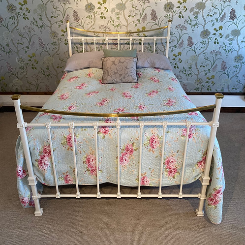 Edwardian Iron and Brass Double Bed Frame - OM032