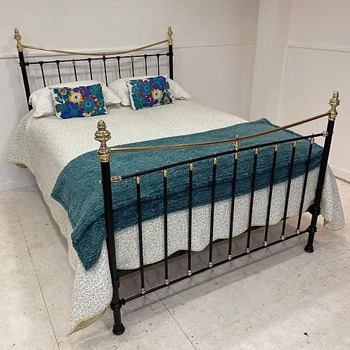 Kingsize - Antique Victorian Brass and Iron Bed - OM136