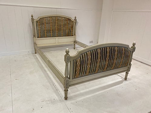 Small Double 4ft - Antique French Upholstered Bedstead - UP046