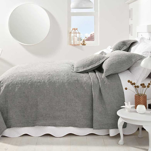 Stonewash Cotton Grey Bedspread
