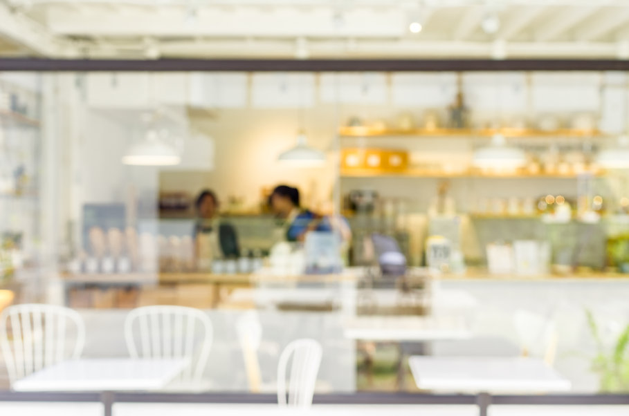 Blurred coffee shop for background about