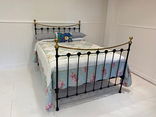 English Victorian Brass and Iron Double Bedstead - OM058
