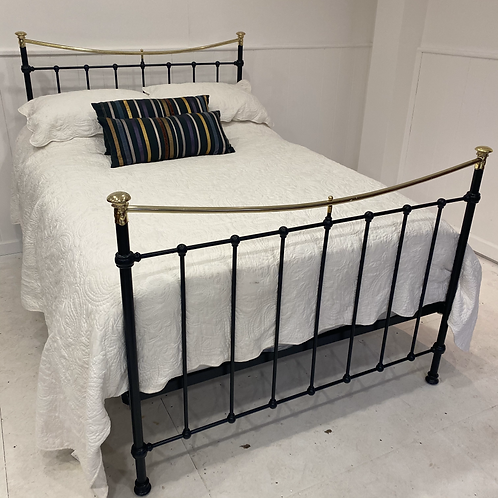 Double Black Iron and Brass Bed - OM099