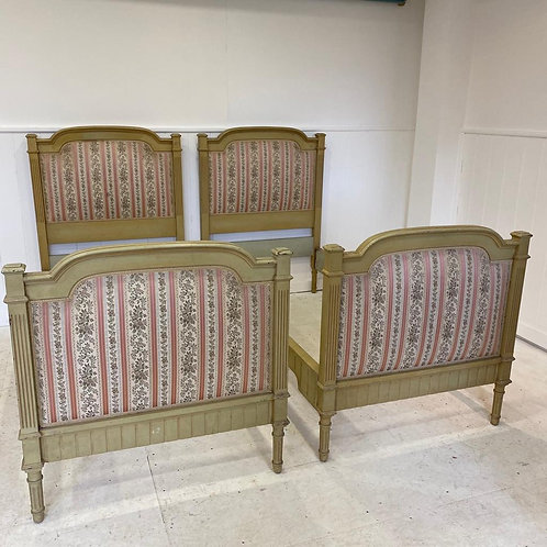 Pair of Italian Upholstered Single Beds - UP061