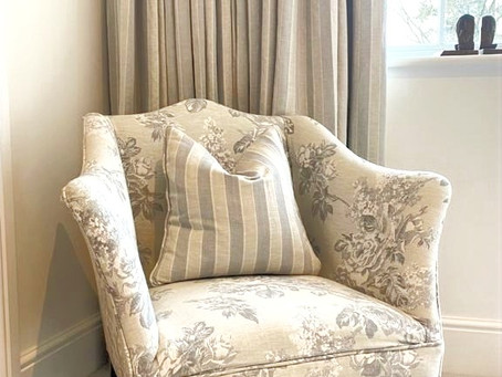 Made to measure curtains, blinds and reupholstered chair in Hindhead - Surrey.