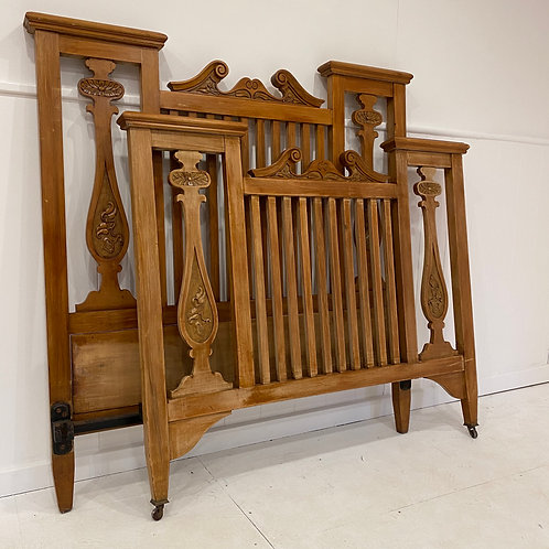 Double Walnut Wood Arts and Crafts Bed - OW010