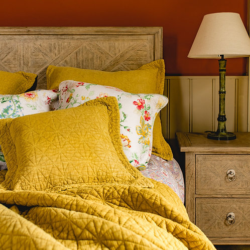 Stonewash Cotton Ochre Bedspread