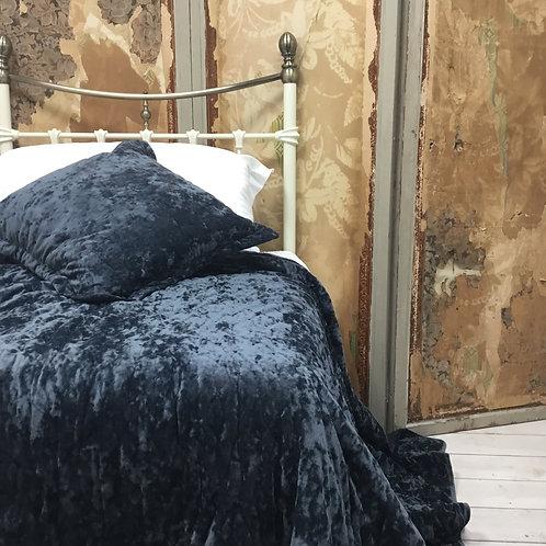 Sacha Grey Velvet Bedspread